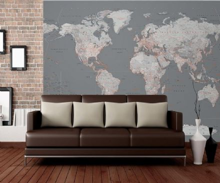 Silver world map wall mural wallpaper